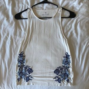 American eagle white and blue floral tank top